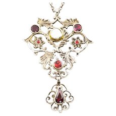 Austro-Hungarian Silver Pendant With Mother of Pearl and Garnets