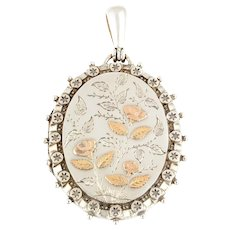 Large Victorian Aesthetic Silver Locket with Rose Gold Flowers