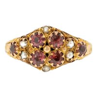 Victorian 9ct Gold Garnet Pearl Cluster Ring