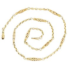 """Antique Victorian 9ct Gold Chain with Fancy Links 16.5"""""""