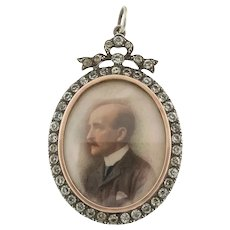 Antique Edwardian Silver Paste Locket with Hand-Painted Portrait