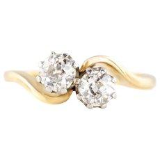 """Art Deco 18ct Gold and Platinum """"Toi et Moi"""" Diamond Ring - 0.75ct"""
