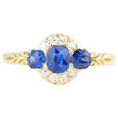 18ct Gold Antique Sapphire Diamond Ring - Antique Sapphire Trilogy Ring