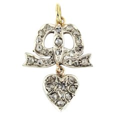 Victorian Diamond Heart Pendant with Bow and Gold Chain