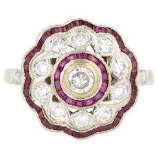 Art Deco Ruby & Diamond Cluster Ring in Platinum