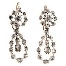 Georgian Diamond Pendeloque Earrings 1.15ct - Georgian Day and Night  Earrings (18ct Gold & Silver)