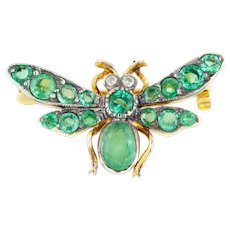 Vintage 9ct Gold Bug Brooch - Vintage Emerald Diamond Insect Brooch
