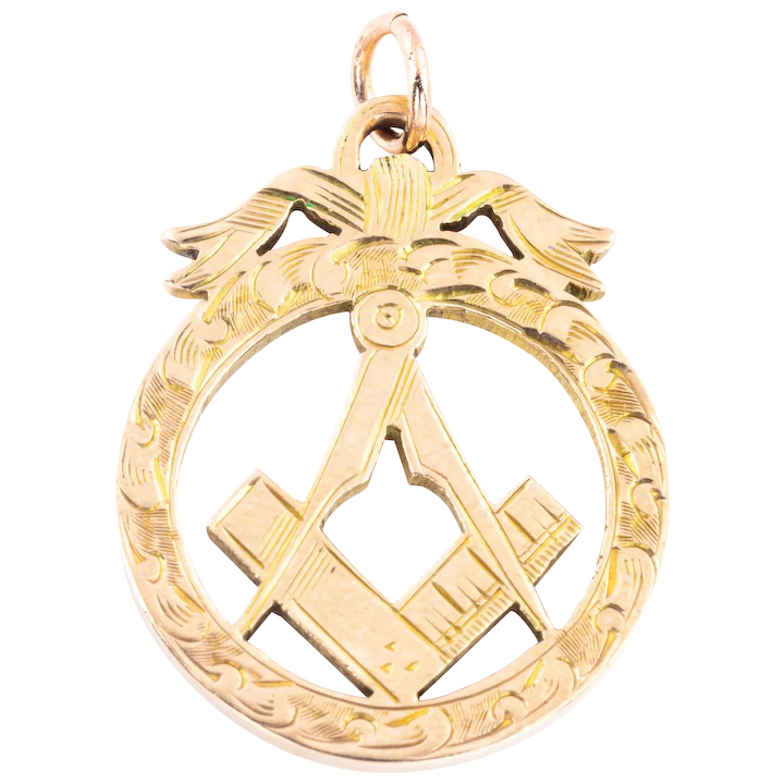 Edwardian 9ct Gold Masonic Square and Compass Pendant with Bow