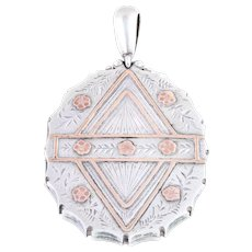 Large Victorian Aesthetic Silver and 9ct Rose Gold locket c.1881