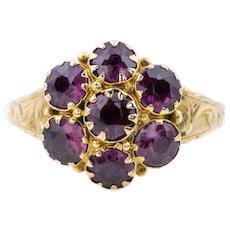 Georgian 9ct Gold Garnet Cluster Ring c.1817