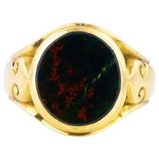 Victorian Solid 18ct Gold Signet Ring with Oval Bloodstone
