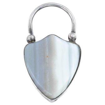 Victorian Agate Shield Padlock Pendant
