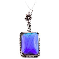 """Art Deco Butterfly Wing Pendant, with 16"""" Chain"""