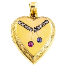 Antique 15ct Gold Heart Locket with Ruby Sapphire and Diamond -c.1900