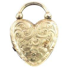 Antique Gold Heart Padlock Locket