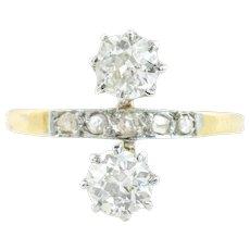 "18ct Gold French Antique ""Toi et Moi"" Diamond Ring (1.21ct)"