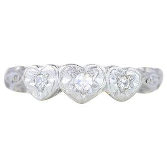 Art Deco Diamond Trilogy Ring in Heart Settings