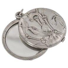 Art Nouveau Repousse Silver Locket with Mirror