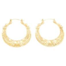 Large 9ct Gold Creole Hoop Earrings