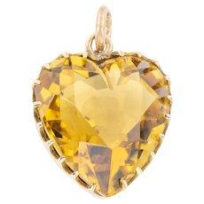 9ct Gold Antique Citrine Heart Pendant