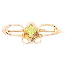 9ct Gold Art Nouveau Peridot Brooch