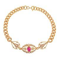 9ct Gold Garnet Curb Bracelet, 14.5g