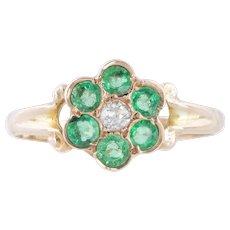 9ct Gold Antique Emerald Diamond Cluster Ring c.1917
