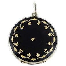 Art Nouveau Enamel Locket - Black Enamel Silver Locket