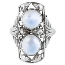Arts and Crafts Silver Moonstone Ring - Antique Moonstone Ring
