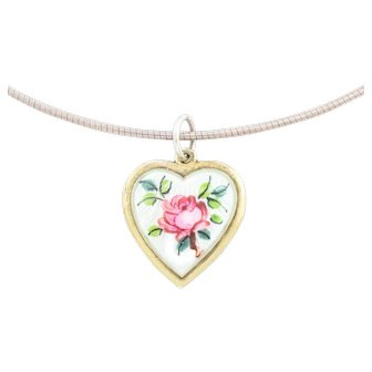 """Art Nouveau Enamel Heart Pendant, with 16"""" Chain"""