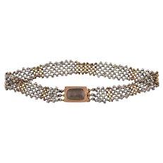Georgian Cut Steel Bracelet with 9ct Gold Clasp