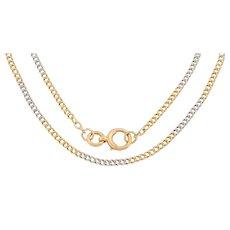 """Antique 17"""" 18ct Gold Platinum Curb Chain (11.2g)"""