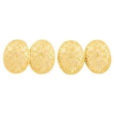 Antique 18ct Gold Oval Cufflinks c.1870 (6.3g)