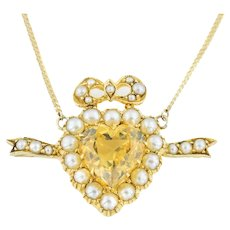 Edwardian Citrine and Pearl Heart Pendant (2.54ct)