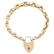 Victorian 9ct Gold Bracelet with Heart Padlock c.1880