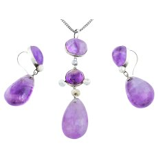 Antique Silver Amethyst and Pearl Pendant and Drop Earrings