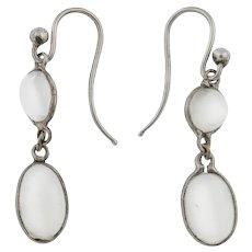 Edwardian Silver Moonstone Drop Earrings, (2.40ct)