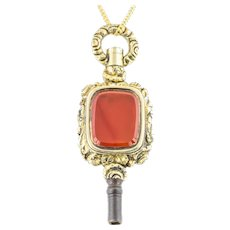 Victorian Watch Key Fob Pendant with Carnelian