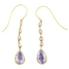 Georgian Amethyst and Pearl Drop Earrings