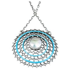 Arts and Crafts Era Blue Enamel Pendant Necklace