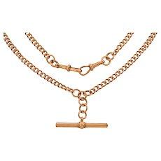 "Victorian 9ct Gold Albert Chain Necklace, 22"""