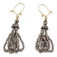 Georgian Faceted Cut Steel Tassel Earrings, Solid 9ct Gold Hooks