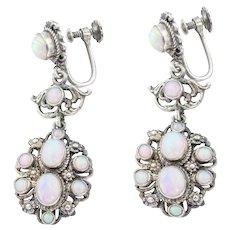 Antique Silver Opal Earrings (2.90ct)