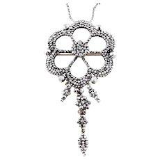 "Georgian Cut Steel Pendant with 16"" Chain"