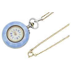"Antique Guilloche Enamel Watch Pendant, with 16"" Chain"