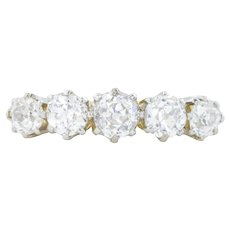 Antique Five Stone Diamond Ring - 1.10ct European cut Diamonds