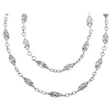 "Antique French Silver Chain Necklace, 54"" (30.2g)"