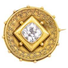 Antique 15ct Gold Rock Crystal Brooch