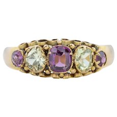 Victorian Chrysoberyl and Garnet Five Stone Ring