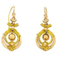 Antique Drop Earrings with Bow Motif